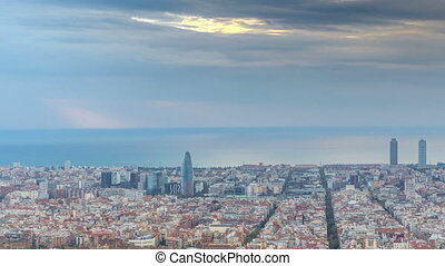 Panorama of Barcelona timelapse, Spain, viewed from the...