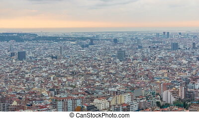 Panorama of Barcelona timelapse, Spain, viewed from the Bunkers of Carmel