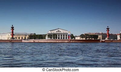 Panorama of Basil Island on River Neva in St Petersburg