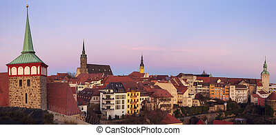 Panorama of Bautzen at sunset. Bautzen, Saxony, Germany.