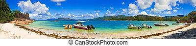 Panorama of beach on island Curieuse at Seychelles - ...