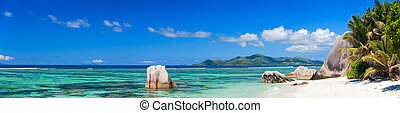 Panorama of beautiful Anse Source d Argent beach in Seychelles