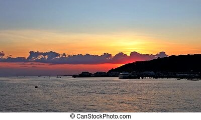 Panorama of beautiful at coast sunset on the ocean.
