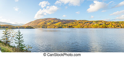Panorama of beautiful autumn view