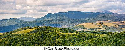 panorama of beautiful Carpathian countryside. power lines...