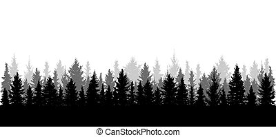 Panorama of beautiful forest, silhouette. All spruces are separated from each other. Vector illustration.