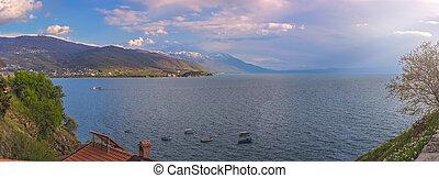 Panorama of beautiful Lake Ohrid