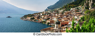 Panorama of beautiful village Limone sul Garda, Italy....