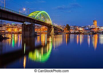 Belgrade - Panorama of Belgrade at night with green lit ...