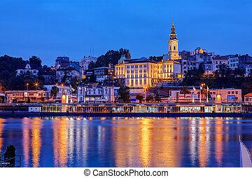 Belgrade - Panorama of Belgrade at night with river Sava