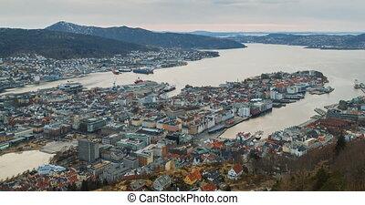 Panorama of Bergen, Sunset. Norway. Time Lapse