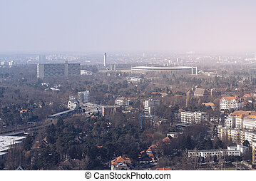 Panorama of Berlin in spring