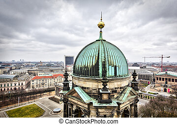 panorama of berlin with a tower of Berliner Dom