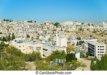Panoramic aerial view of Bethlehem city in Palestine, Israel