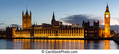 Panorama of Big Ben and House of Parliament at River Thames International Landmark of London England United Kingdom at Dusk
