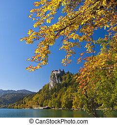Panorama of Bled in autumn.