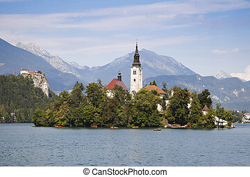 Panorama of Bled Lake in Slovenia