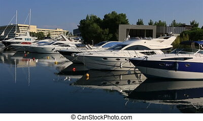 Panorama of boats in the private dock. Porto Carras Grand Resort.