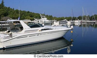 Panorama of boats in the private dock. Porto Carras Grand Resort.