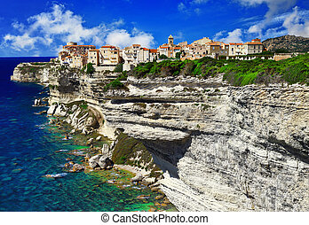 panorama of Bonifacio Corsica - France - Bonifacio, old town...