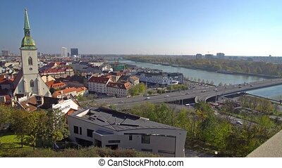Panorama of Bratislava with the Danube and the Castle building, Slovakia. Aerial view of Bratislava, Slovakia. Time-lapse.