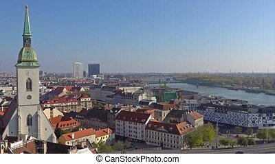 Panorama of Bratislava with the Danube and the Castle...