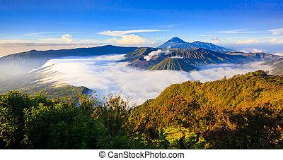 Panorama of Bromo volcano at sunrise, East Java, Indonesia...