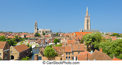 Panorama of Bruges - Panoramic view of Bruges in a summer...
