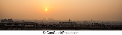 Panorama of Brussels on sunset, Belgium