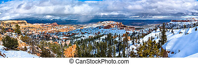 Panorama of Bryce Canyon in early spring