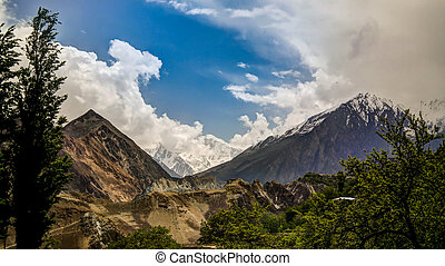 Panorama of Bualtar glacier and Hunza valley, Gilgit-...