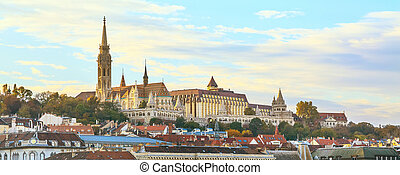 Panorama of Buda part in Budapest with St. Matthias church