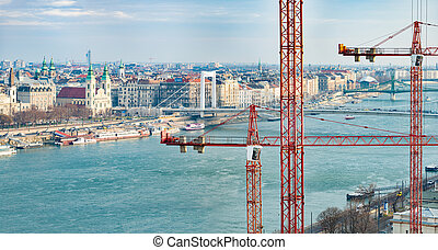 Panorama of Budapest and Danube river.