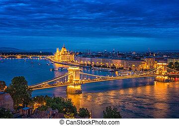 Panorama of Budapest at night. Hungarian landmarks.