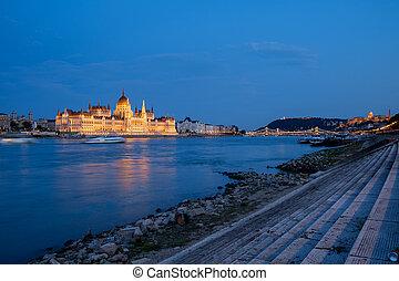 Panorama of Budapest at night