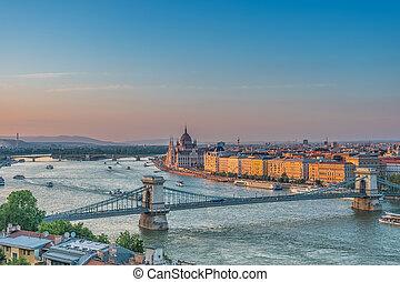 Panorama of Budapest at sunset. Hungarian landmarks