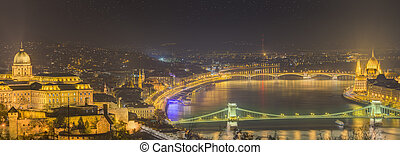 Panorama of Budapest, Hungary, with the Chain Bridge, Parliament and Buda Castle
