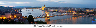 Panorama of Budapest: the Hungarian parliament and the...