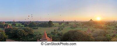 Panorama of Buddhist Temples in Bagan, Myanmar - Panorama of...