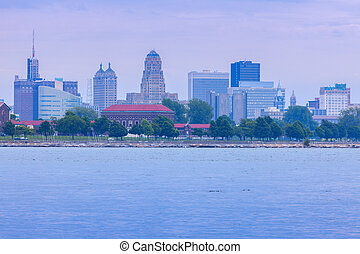 Panorama of Buffalo across Niagara River. Buffalo, New York,...