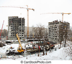 panorama of building in winter