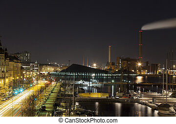 Panorama of Capital City of Finland, Helsinki by Night