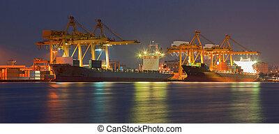 Panorama of Cargo freight ship