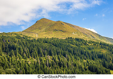 Panorama of Carpathian mountains in summer sunny day.