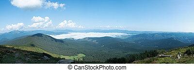 Panorama of Carpathians mountains at summer, west Ukraine....