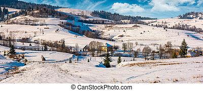 panorama of Carpatian village in winter. beautiful rural...