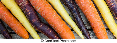 panorama of carrots on a table