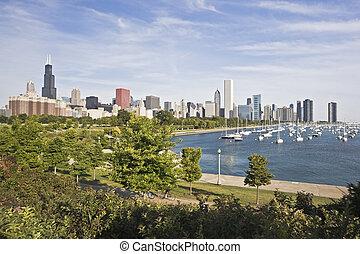 Panorama of Chicago and Lake Michigan