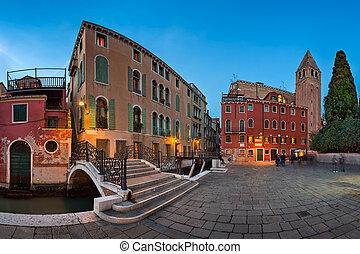 Panorama of Chiesa di San Vidal in the Evening, Venice,...