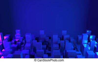 Panorama of city buildings. 3d rendering